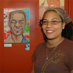 "Cathy White with her artwork in (no name) Art Group ""Memory Portraits 2007"", creating portraits for foster children in Uganda, Africa"